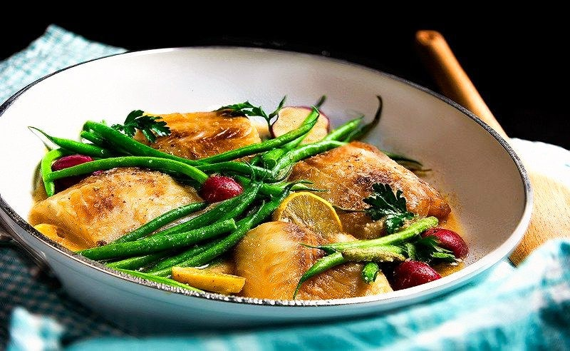 Baked Cod Recipe With Greenbeans and potatoes