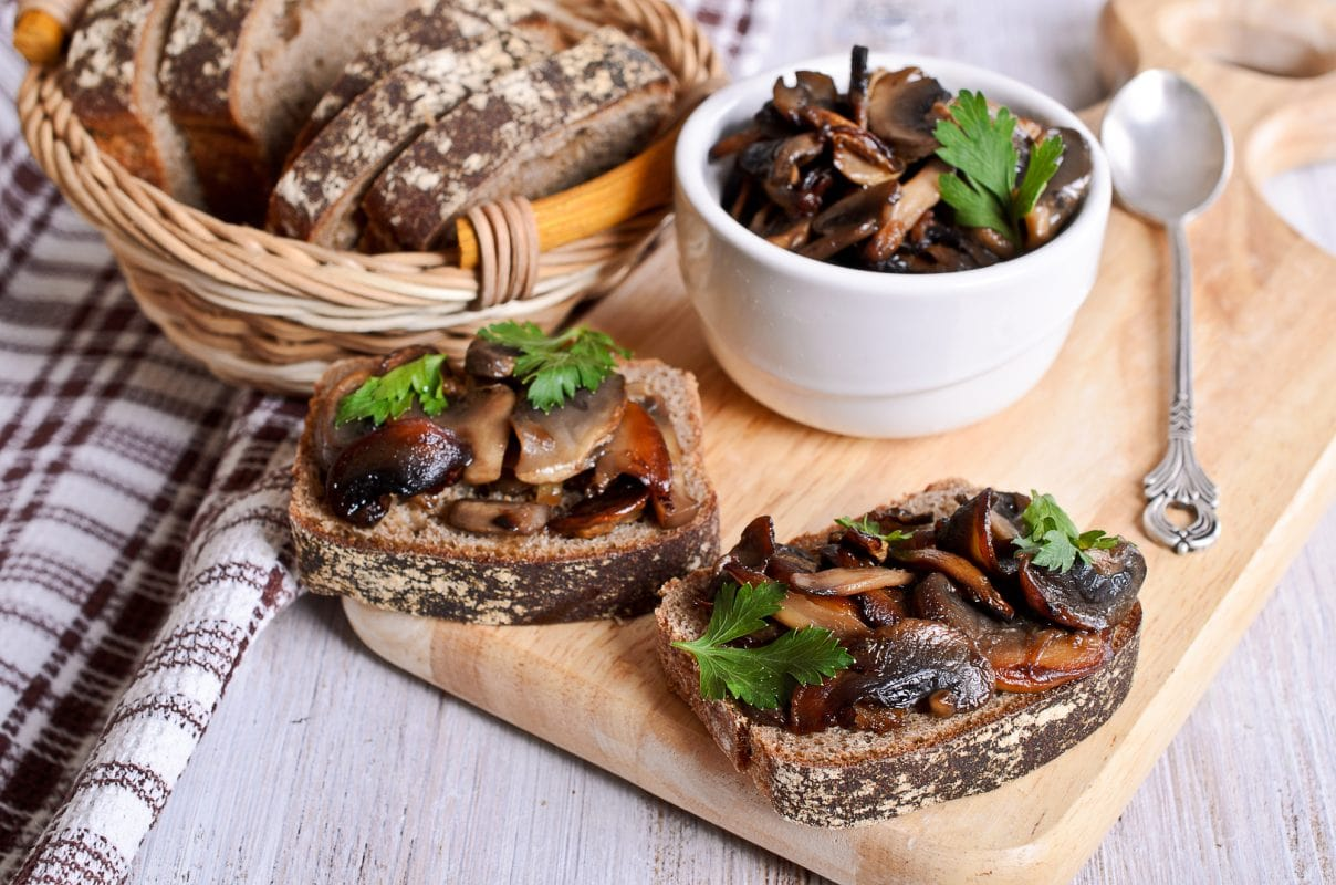 Sauteed mushrooms over crostini
